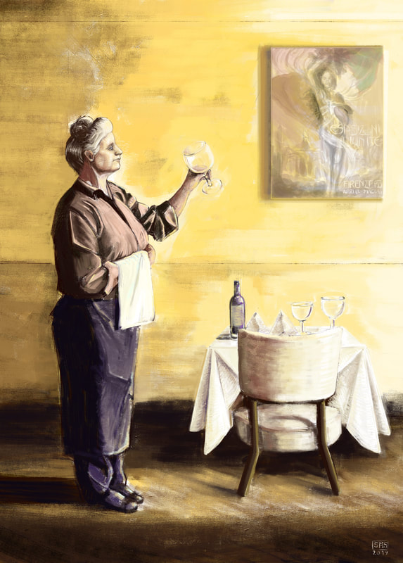 An Illustration of a proud work worn woman inspects a wine glass.