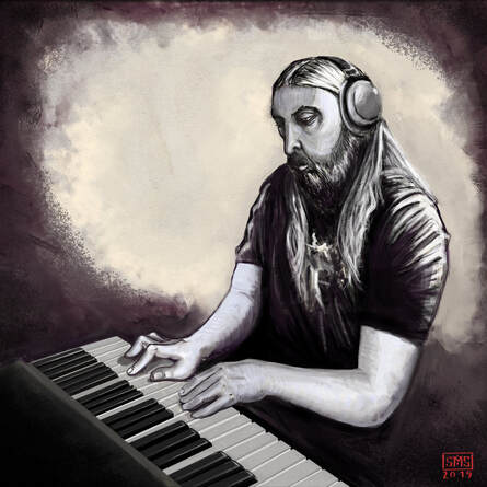 An illustration of Ola Englund playing piano.