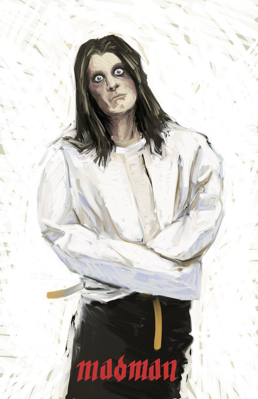 An illustration of Ozzy Osbourn in a straight Jacket in the style of J.C. Lyendecker.